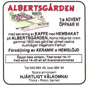 Albertsgårdens först öppningsannons